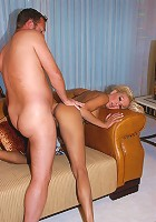 Brunette milf spreads her legs wide and waits for cock insertion