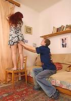 Boy seduces a hot oldie into tasting his stiff rod