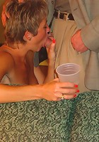 Hot MILF Tracy sucks cock at a party