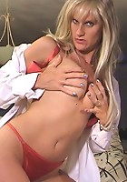 Blonde milf takes two foot long dildo
