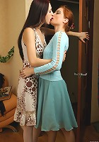 Rita&Judith lesbian MILF tongue kisses