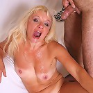 Mature blonde gets her mouth banged and jizzed