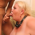 Fat mature babe gagging on a stiff meat stick
