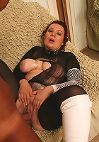 Mature chick Agatha spreading her pussy lips wide so she could have her pussy pounded