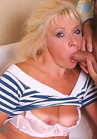 Tanned mature Renee bending over so she coud have her pussy filled with a huge dick