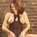 Red Head Hot Mature Posing and Playing Strap-on Dildo