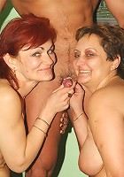 Sexy older gals Steph And Julianna take turns getting plowed and licking off fresh cum