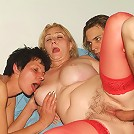 Naughty matures Eve and Eva lure a younger guy into giving them turns in pounding their holes live