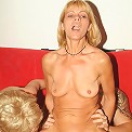 Naughty older women Rita and Rosalie enjoy taking turns in slurping and riding a dick live