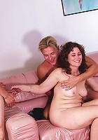 Curly and chubby brunetter momma gets caught up in orgy thrill with young hunks