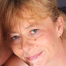 Naughty grandma Maria doing a little striptease in front of a young guy and gives him a head