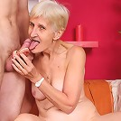 Granny Irene wraps her wrinkled mouth around a cock and gets a wad of nasty cumshot in her face