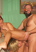 Rita and her husband welcome a blonde teen named Sylvia into their home to get in a hot threesome