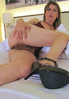 Naughty housewife Carmen plays with her toy
