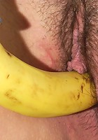 This chubby housewife loves to play with a banana