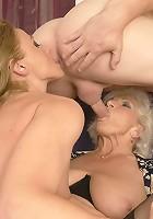 Matrue slut and a MILF sharing a hard cock