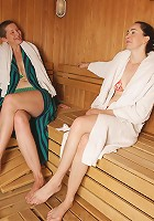 Mature ladies having relaxation time at the sauna