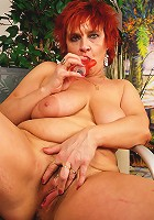 Red mature slut gives us a private show