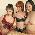 Three mature sluts taking the hand on one very bad male slave