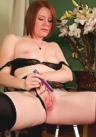 Sexy Ariana Carmine uses a vibrator to make her mature pussy cum