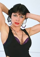 Pretty Anilos mom with sultry red lips in black lingerie