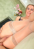 Horny milf Sara James enjoys oral sex before letting a big hard cock pound her