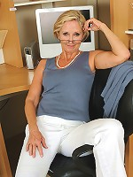 Blonde office MILF shows off her 55 year old super hot body here