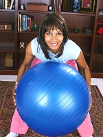 Naked 42 year old Sara makes pilates a lot more fun to watch