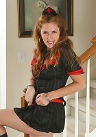 Mature redhead plays nurse and gives her older pussy a checkup