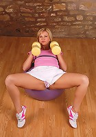 Blonde MILF Laurita makes excercising a must see in here