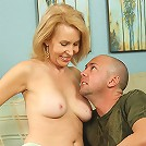 Hot blonde MILF enjoying a younger cock in her again pussy