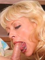Dirty blonde mature chick sucking a young guys cock