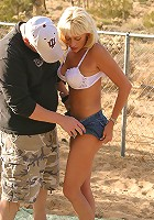 Blonde MILF suck younger cock in a deserted lot