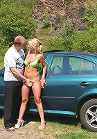 Sylvie gets her mature pussy fucked on the hood of a car