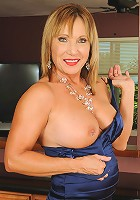 Horny 60 year old Luna in and out of a elegant blue evening gown