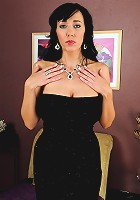 Tall and mature brunette Alia slinks out of her sexy black dress