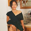 Elegant Adena strips off her black dress and spreads her legs