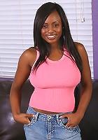 Beautiful ebony MILF in pockadotted panties spreads wide