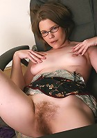 38 year old business lady with a very hairy pussy spreads