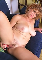 42 year old all natural blonde in red panties strips and spreads