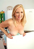54 year old blonde housewife doing it just right in the kitchen