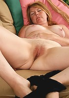 Blonde 42 year old Stacie looking really great in her sheer stockings