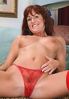 Tight bodied and mature Shauna shows off her red lingerie