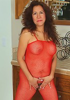 Horny and mature Alexis unwraps her lingerie just for us in here