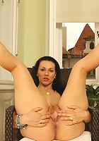Gorgeous wife Katty spreads her tasty pink pussy.