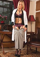 Sexy doctor Kimberly gets butt naked on her office desk.