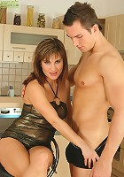 Stunning MILF Valentina Rush fucked on kitchen floor.