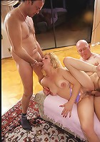 Dirty blonde MILF gets double teamed and double creamed!
