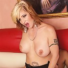 Sexy MILF sluts rides pole and takes a facial!