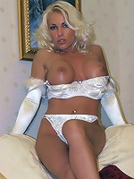 Sexy white lingerie looks so good when Lana is wearing it